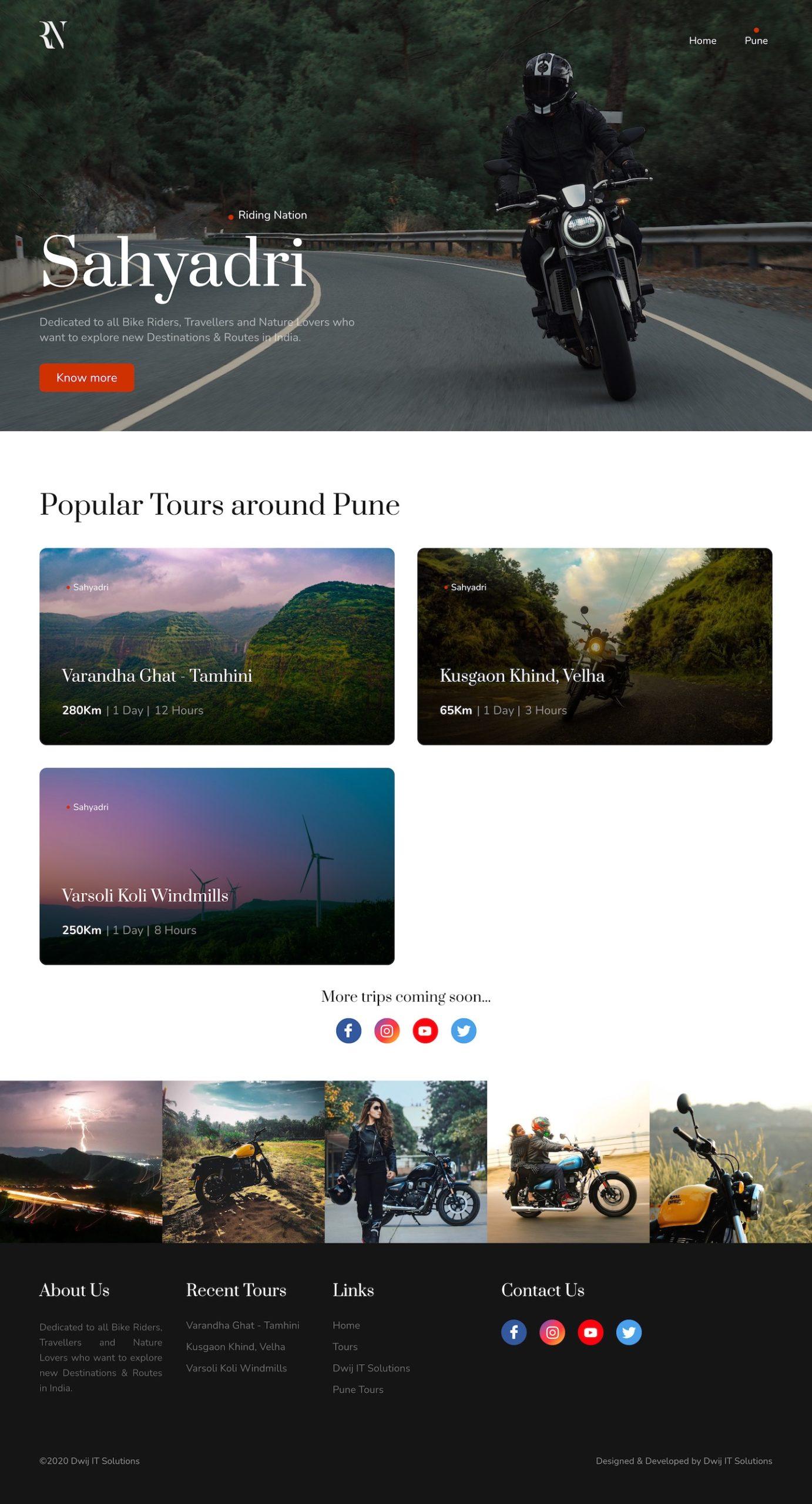 ridingnation.in-custom-travel-blog-in-laravel-home
